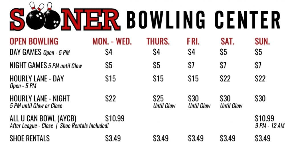 open bowling prices
