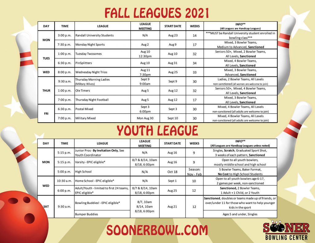 fall league scheudle